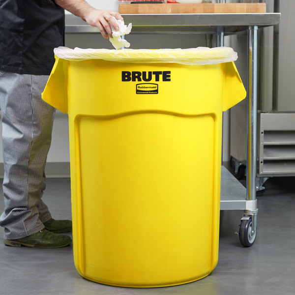 Rubbermaid FG265500YEL BRUTE Yellow 55 Gallon Trash Can