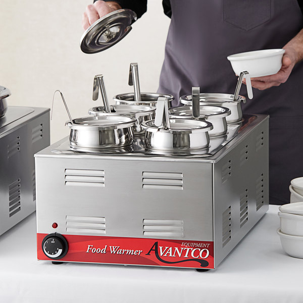 """Avantco W50 12"""" x 20"""" Full Size Electric Countertop Food Warmer / Topping Station with (6) 2 1/2 Qt. Inset Pots - 120V, 1200W Main Image 4"""