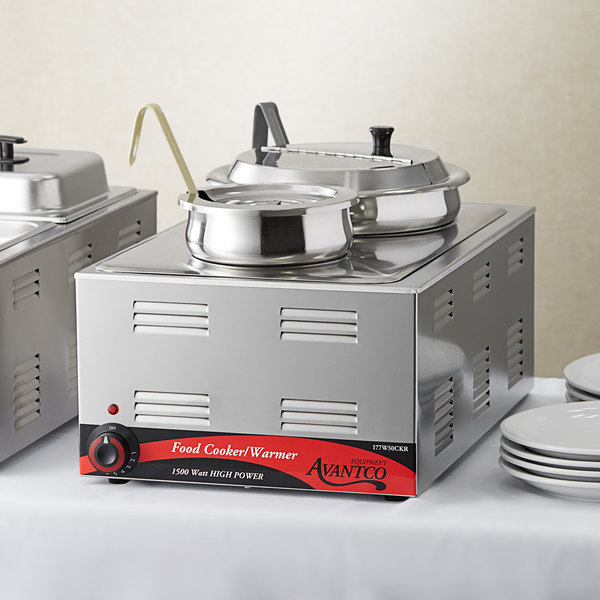 """Avantco W50CKR 12"""" x 20"""" Full Size Electric Countertop Food Cooker / Warmer / Soup Station with 4 Qt. and 11 Qt. Inset Pots - 120V, 1500 Main Image 4"""