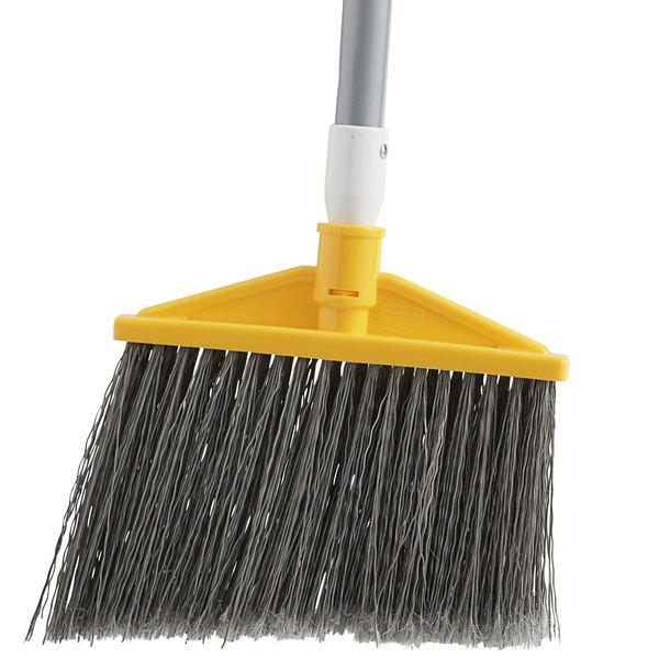 10-Inch Head Width Rubbermaid Commercial Jumbo Smooth Sweep Polypropylene Angle Broom with Black Metal Handle FG638906BLA Black