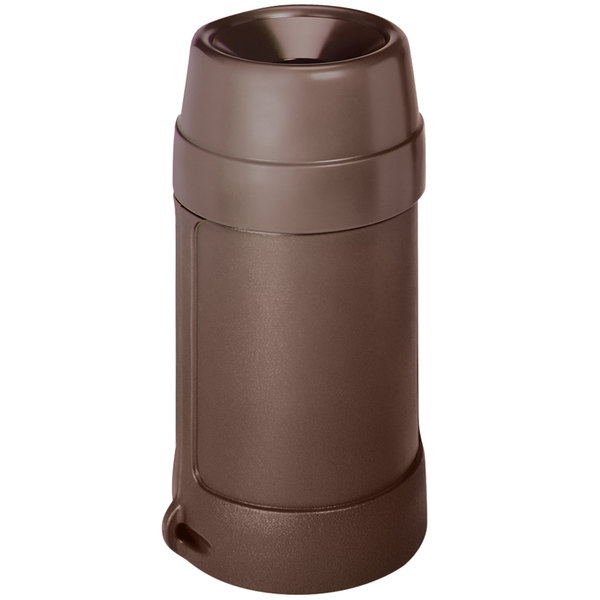 Continental 1430BN 24 Gallon Brown Round Trash Can with Funnel Top Main Image 1