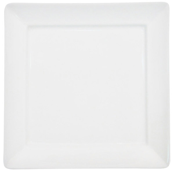 "CAC F-SQ14 Paris French 14"" Bone White Square Porcelain Tray - 9/Case Main Image 1"