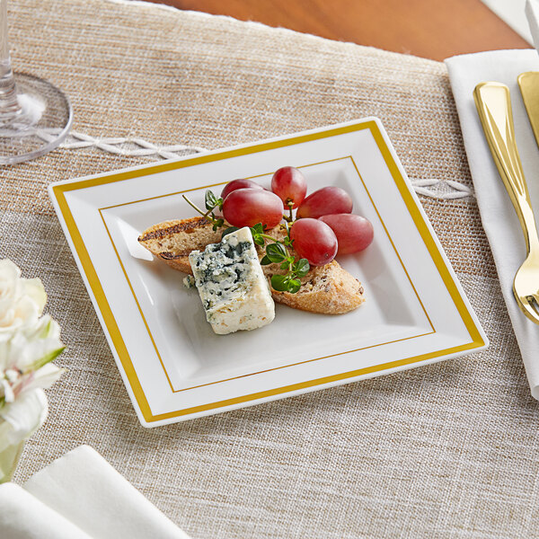 """Gold Visions 6"""" Square Bone / Ivory Plastic Plate with Gold Bands - 120/Case Main Image 2"""