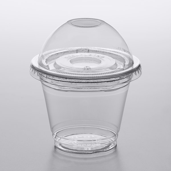 Pack of 10 CLEAR Plastic 16 oz Cups and Dome Lids without Hole Parfait Cup