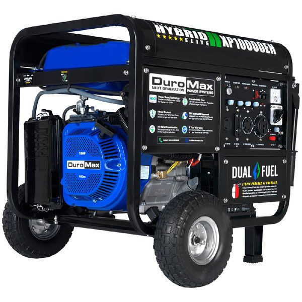 DuroMax XP10000EH Portable Dual Fuel Powered Generator with Electric / Recoil Start and Wheel Kit - 10,000/8,000W, 120V Main Image 1