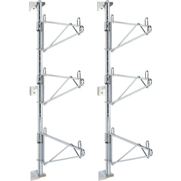 "Metro SW25C Super Erecta Chrome Triple Level Post-Type Wall Mount End Unit for 14"" Deep Shelf - 2/Pack"