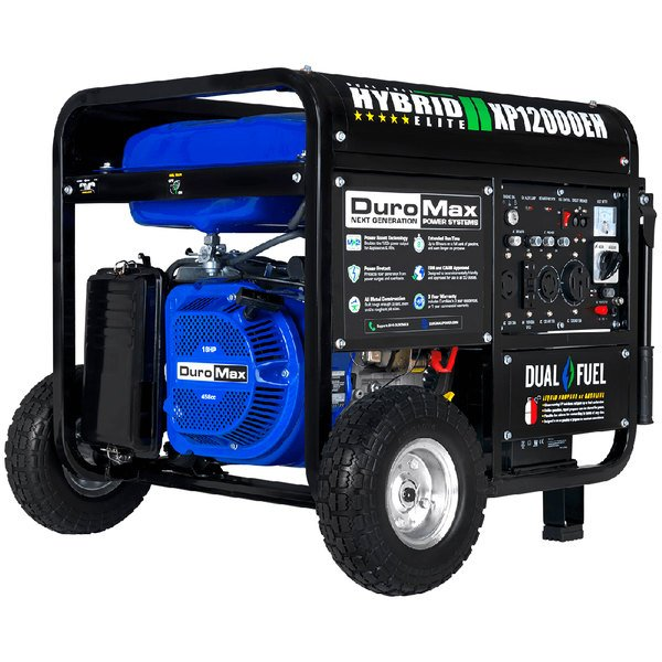 DuroMax XP12000EH Portable 18 HP Dual Fuel Powered Gasoline / Propane Generator with Electric / Recoil Start and Wheel Kit - 12,000/9,500W, 120V Main Image 1