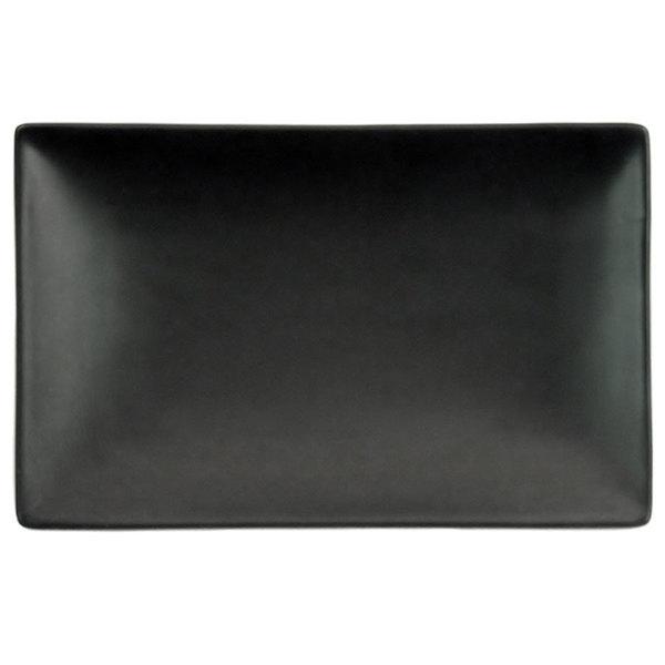 """CAC 666-34-BK 8 1/2"""" x 5 1/2"""" Japanese Style Rectangular Stoneware Plate - Solid Black Non-Glare Glaze - 24/Case Main Image 1"""