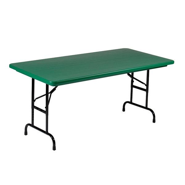 "Correll R-Series R3072 30"" x 72"" Green Plastic Folding Table"