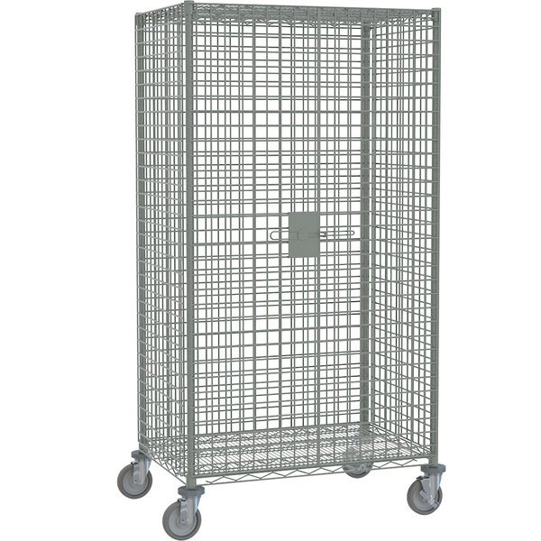 """Metro SEC53EC Chrome Mobile Standard Duty Wire Security Cabinet with Casters (Two Locking) - 40 3/4"""" x 27 1/4"""" x 68 1/2"""""""
