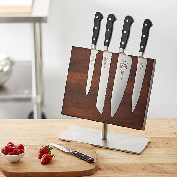 Mercer Culinary M21940 Renaissance 6 Piece Knife Set And Acacia Magnetic Board With Stainless Steel Base