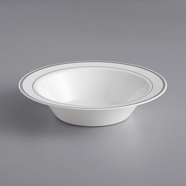 Silver Visions 12 oz. White Plastic Bowl with Silver Bands - 15/Pack Main Image 1