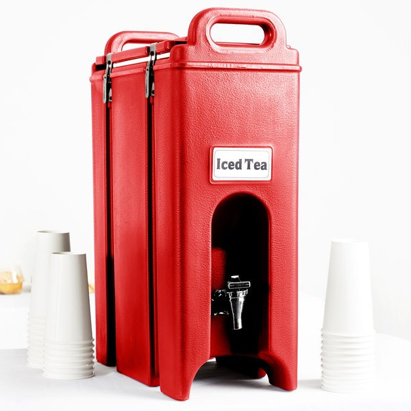 Cambro 500LCD158 Camtainers® 4.75 Gallon Hot Red Insulated Beverage Dispenser Main Image 5