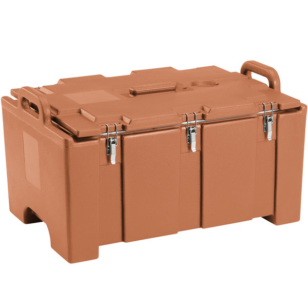 "Cambro 100MPC157 Camcarrier® 100 Series Coffee Beige Top Loading 8"" Deep Insulated Food Pan Carrier Main Image 1"