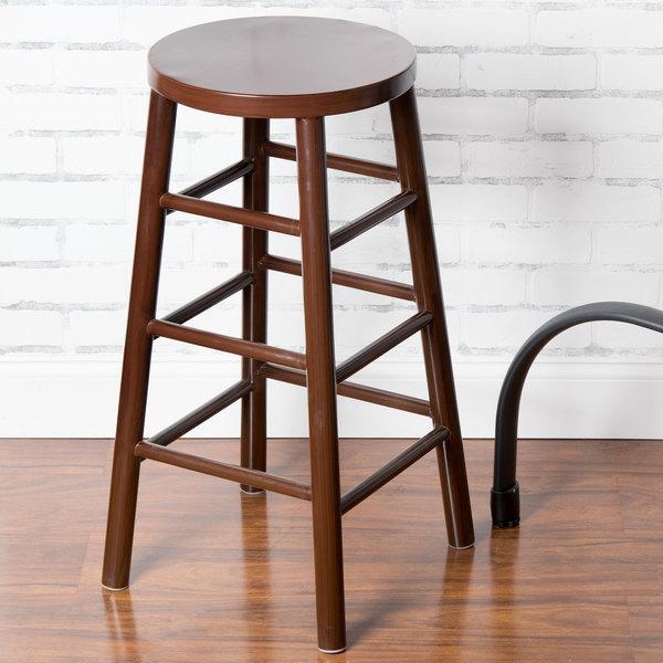 "Lancaster Table & Seating Spartan Series 30"" Metal Woodgrain Barstool with Dark Brown Finish"