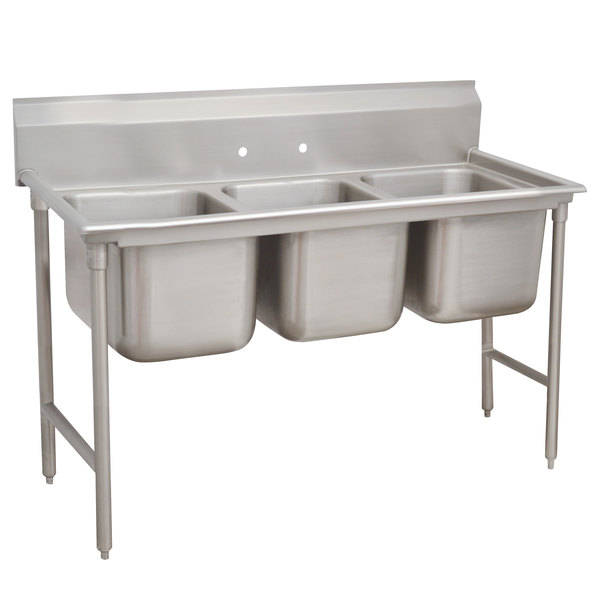 """Advance Tabco 93-3-54 Regaline Three Compartment Stainless Steel Sink - 62"""""""