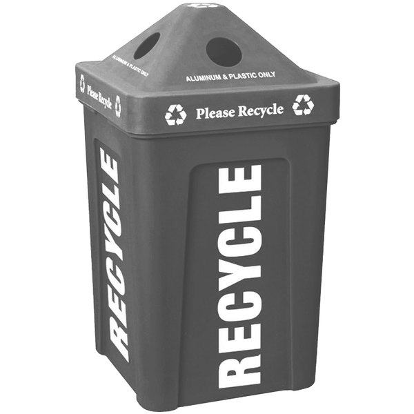 IRP 1070 Gray Stacking Pyramid Lid Recycle Bin - 48 Gallon