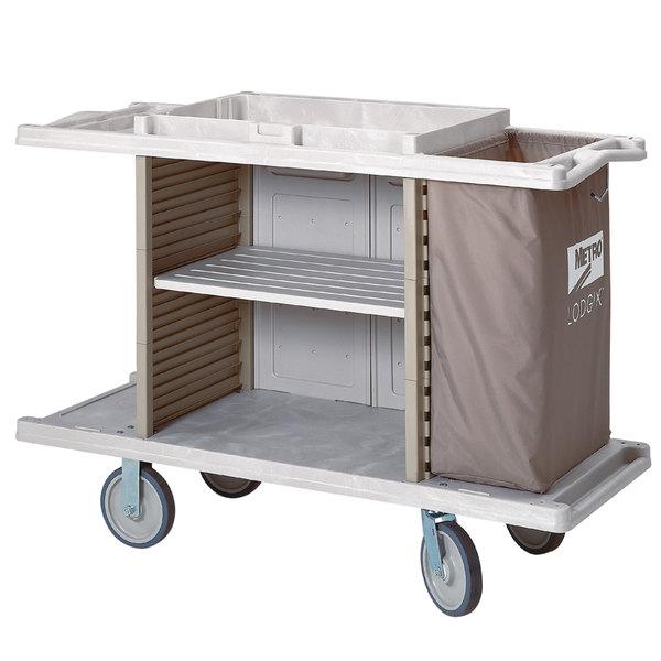 Metro LXHK4-ESS Lodgix Essentials Housekeeping Cart- Tall Height with 2 Adjustable Center Shelves