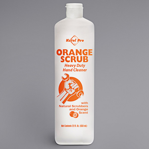 Kutol Pro 4984 Orange Scrub Orange Scented Heavy-Duty Hand Cleaner with Natural Scrubbers 22 oz. Squeeze Bottle - 12/Case Main Image 1