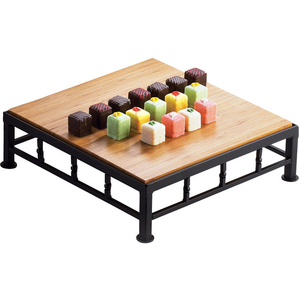 """Cal-Mil 1711-3-60 Iron Black Square Riser with Bamboo Top - 12"""" x 3"""" Main Image 1"""