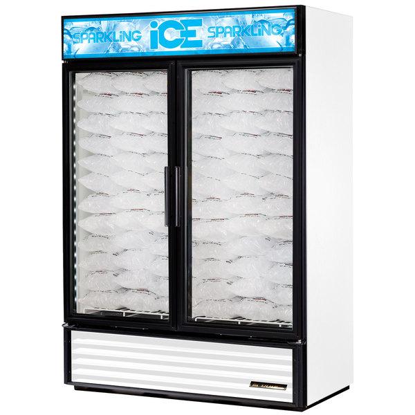 True GDIM-49NT-LD White Tankless Two Section Glass Door Ice Merchandiser