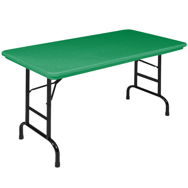 "Correll Folding Table, 24"" x 48"" Plastic Adjustable Height, Green - R-Series RA2448"