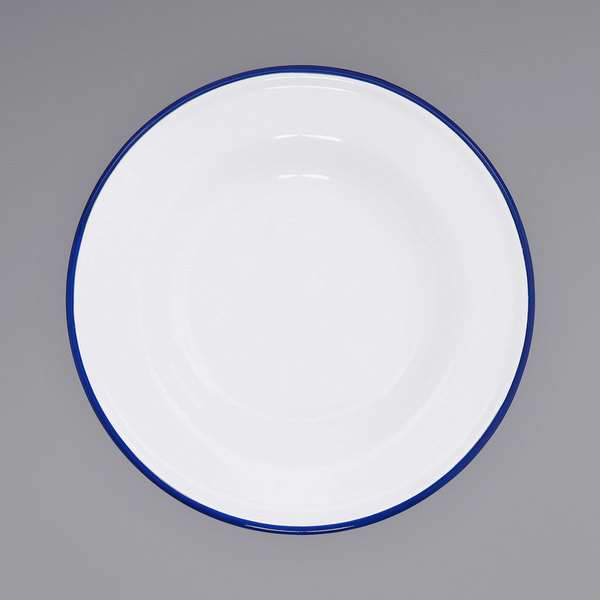 """Crow Canyon Home V19BLU Vintage 8"""" White Wide Rim Enamelware Footed Plate with Blue Rolled Rim Main Image 1"""