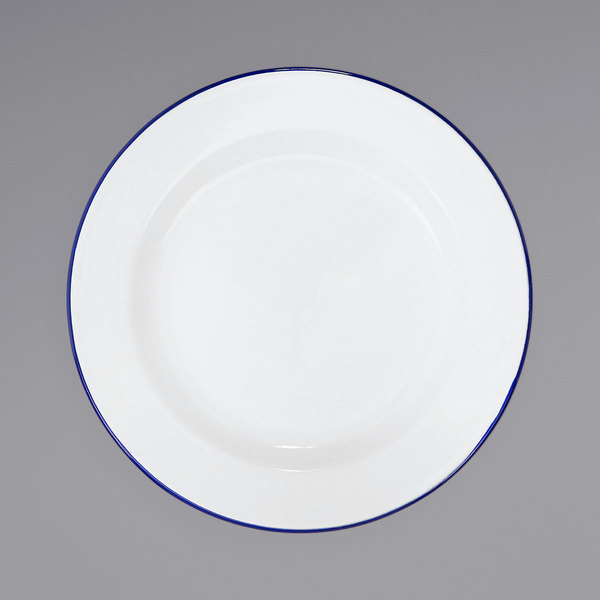 """Crow Canyon Home V20BLU Vintage 10 1/4"""" White Wide Rim Enamelware Footed Plate with Blue Rolled Rim Main Image 1"""