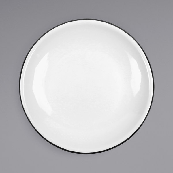 """Crow Canyon Home V123BLA Vintage 8"""" White Coupe Enamelware Plate with Black Rolled Rim Main Image 1"""