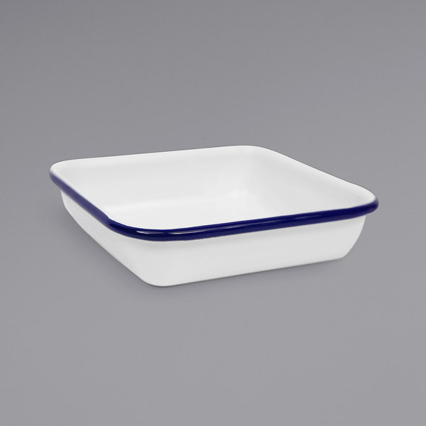 """Crow Canyon Home V122BLU Vintage 4 3/4"""" White Square Enamelware Tray with Blue Rolled Rim"""