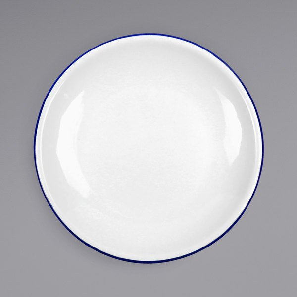 "Crow Canyon Home V123BLU Vintage 8"" White Coupe Enamelware Plate with Blue Rolled Rim Main Image 1"