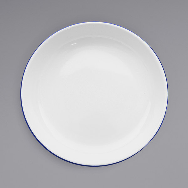 """Crow Canyon Home V114BLU Vintage 10 1/2"""" White Round Enamelware Deep Coupe Pasta Plate with Blue Rolled Rim Main Image 1"""