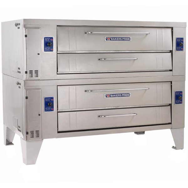 """Bakers Pride Y-602BL Super Deck Y Series Natural Gas Brick Lined Double Deck Pizza Oven 60"""" - 240,000 BTU"""