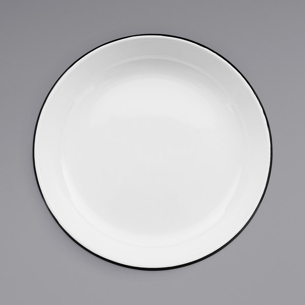 """Crow Canyon Home V114BLA Vintage 10 1/2"""" White Round Enamelware Deep Coupe Pasta Plate with Black Rolled Rim Main Image 1"""
