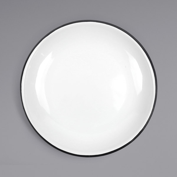 """Crow Canyon Home V124BLA Vintage 10 1/2"""" White Coupe Enamelware Plate with Black Rolled Rim Main Image 1"""