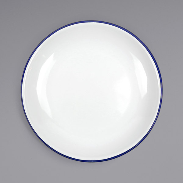 "Crow Canyon Home V124BLU Vintage 10 1/2"" White Coupe Enamelware Plate with Blue Rolled Rim Main Image 1"