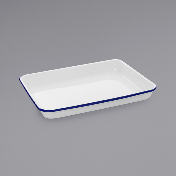 """Crow Canyon Home V190BLU Vintage 11 1/4"""" x 8 3/4"""" White Rectangular Enamelware Tray with Blue Rolled Rim"""