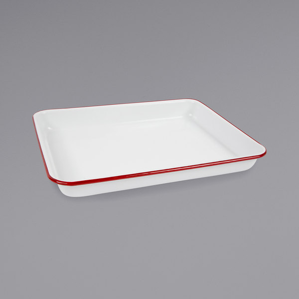 """Crow Canyon Home V190RED Vintage 11 1/4"""" x 8 3/4"""" White Rectangular Enamelware Tray with Red Rolled Rim"""