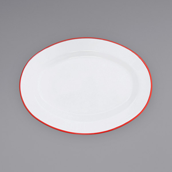 "Crow Canyon Home V94RED Vintage 11 7/8"" x 8 11/16"" White Enamelware Oval Plate with Red Rolled Rim Main Image 1"