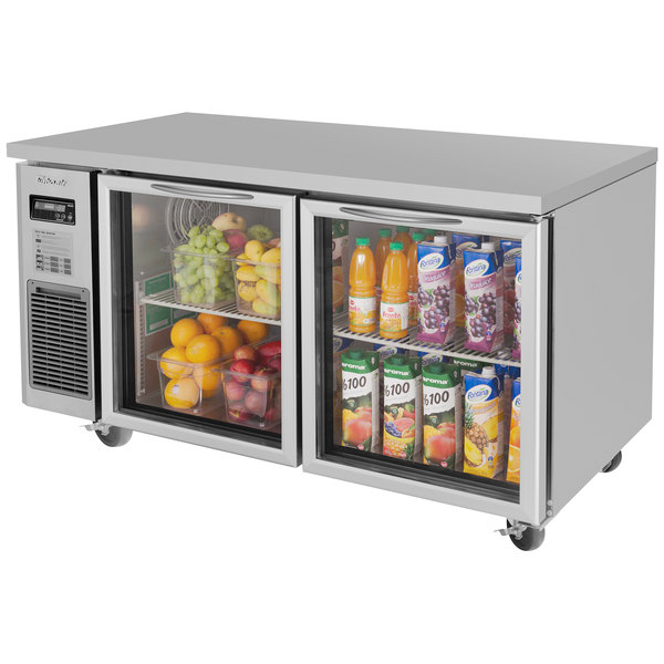 """Turbo Air JUR-60-G J Series 60"""" Undercounter Refrigerator with Side Mounted Compressor and Glass Doors - 15 Cu. Ft."""