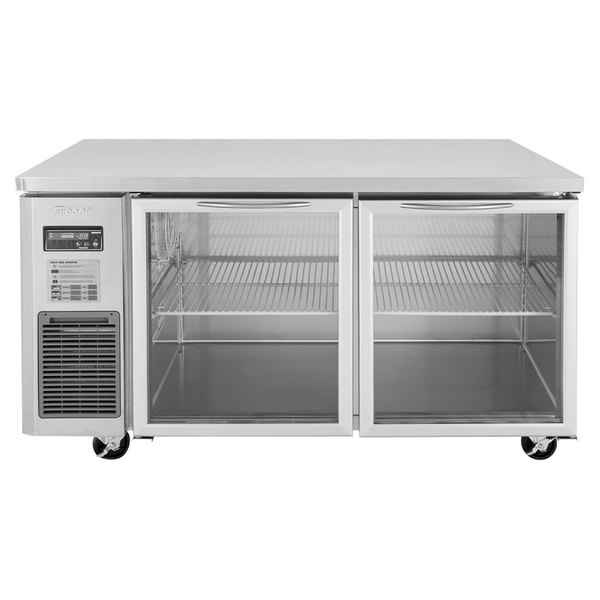 """Turbo Air JUR-60-G J Series 60"""" Glass Door Undercounter Refrigerator with Side Mounted Compressor"""