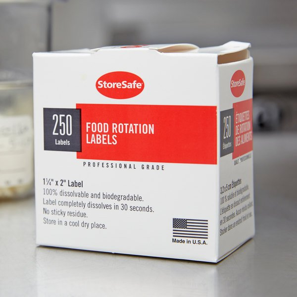 "Cambro 1252SLB250 250 Count Roll of 2"" x 1 1/4"" Printed StoreSafe Dissolvable Product Labels"
