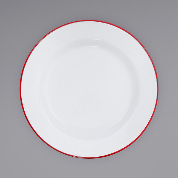 """Crow Canyon Home V95RED Vintage 12"""" White Wide Rim Enamelware Plate with Red Rolled Rim Main Image 1"""
