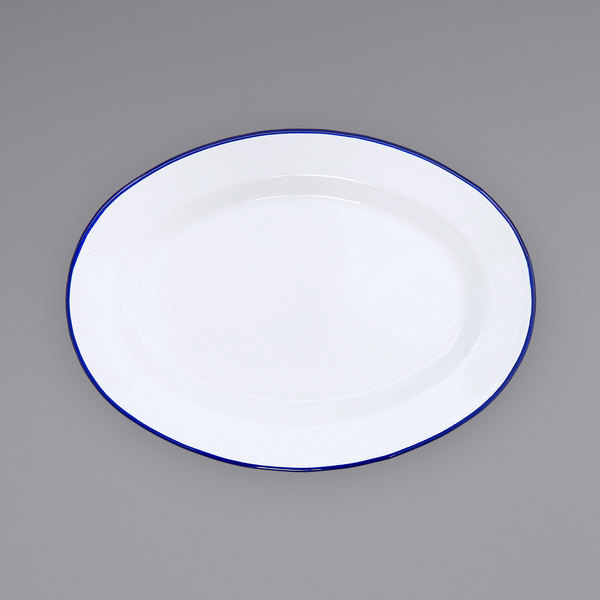 """Crow Canyon Home V94BLU Vintage 11 7/8"""" x 8 11/16"""" White Enamelware Oval Plate with Blue Rolled Rim Main Image 1"""