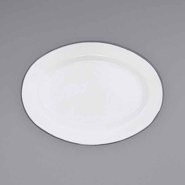 """Crow Canyon Home V94GRY Vintage 11 7/8"""" x 8 11/16"""" White Enamelware Oval Plate with Grey Rolled Rim Main Image 1"""