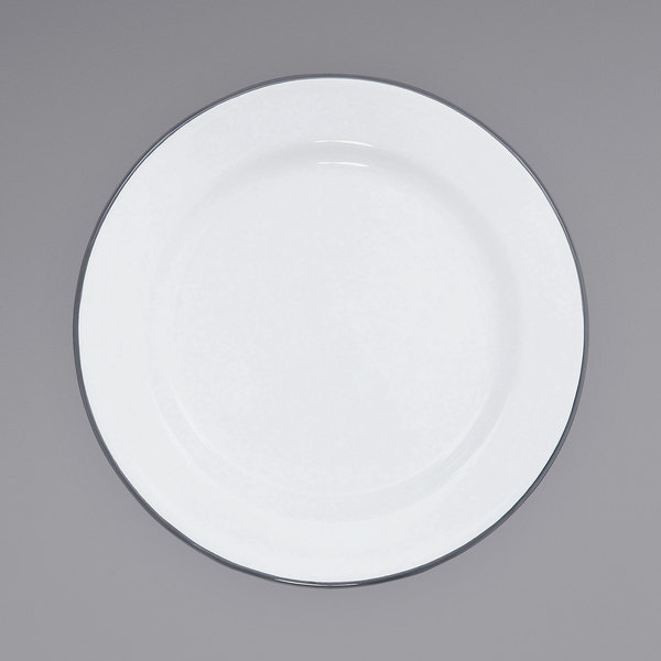 """Crow Canyon Home V99GRY Vintage 8"""" White Wide Rim Enamelware Plate with Grey Rolled Rim Main Image 1"""