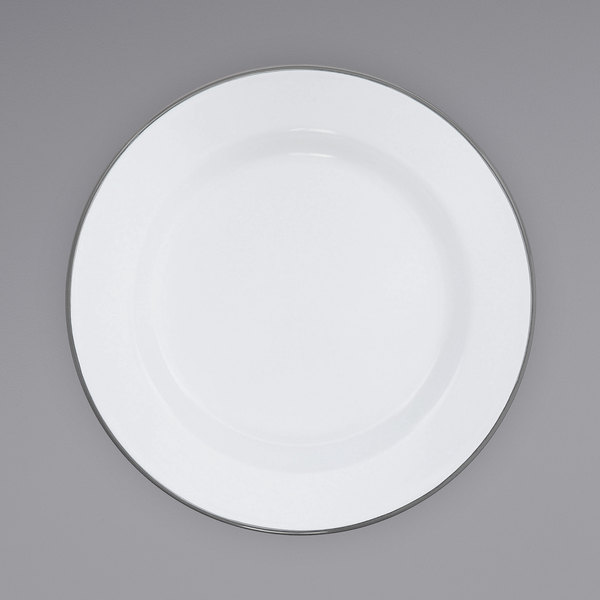 """Crow Canyon Home V95GRY Vintage 12"""" White Wide Rim Enamelware Plate with Grey Rolled Rim Main Image 1"""