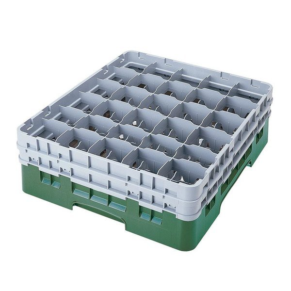 "Cambro 30S958119 Sherwood Green Camrack Customizable 30 Compartment 10 1/8"" Glass Rack"