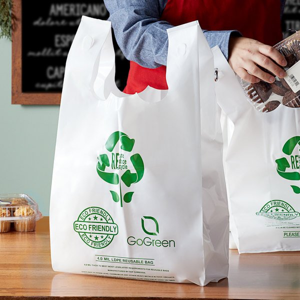 Reusable plastic bags holding baked goods