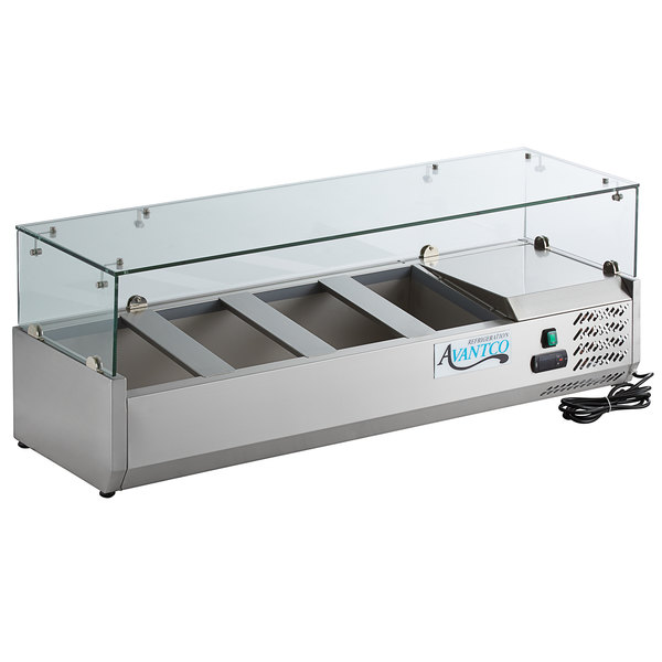 Avantco CPT-48 48 inch Countertop Refrigerated Prep Rail with Sneeze Guard